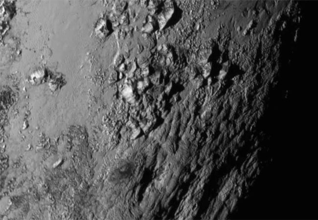 Mountains on Pluto. (Credit: NASA/Johns Hopkins University Applied Physics Laboratory/Southwest Research Institute)