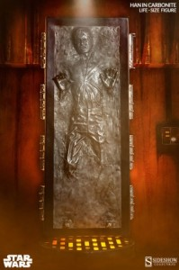 The life-sized replica of Han Solo in carbonite. (Credit: Sideshow Collectibles)