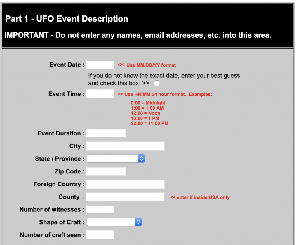NUFORC UFO reporting form